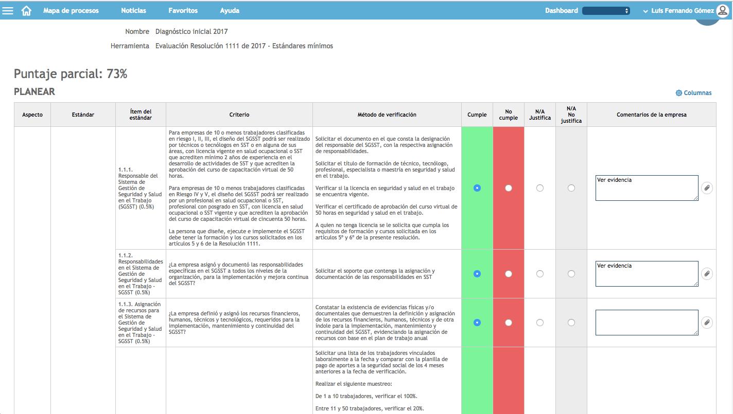 evaluación inicial software seguridad y salud KAWAK