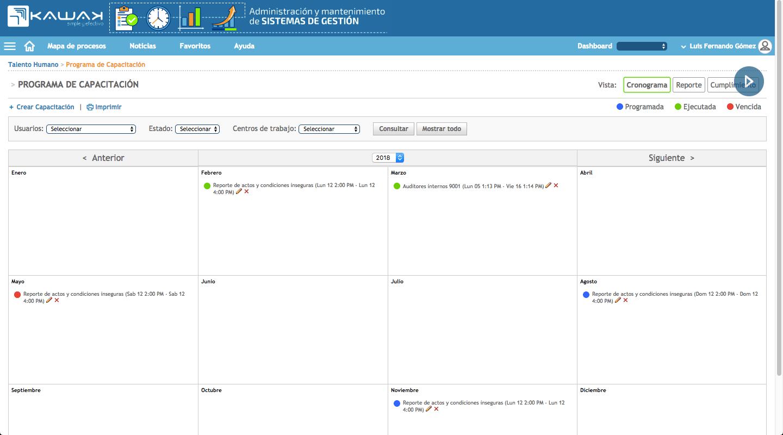cronograma capacitación software talento humano KAWAK
