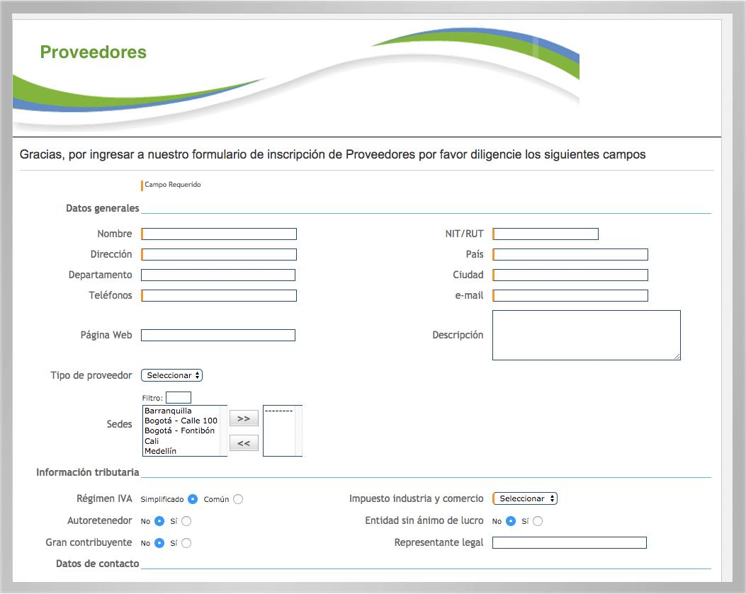 registro en línea software proveedores KAWAK